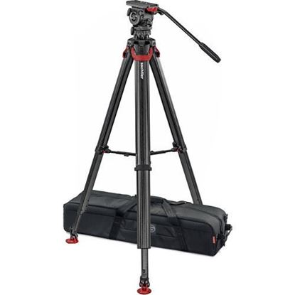 Picture of Sachtler System FSB 8 Fluid Head with Touch & Go Plate, Flowtech 75 Carbon Fiber Tripod with Mid-Level Spreader and Rubber Feet
